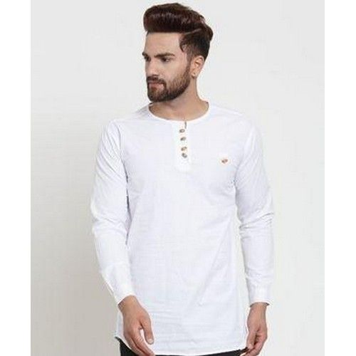 Stylish Solid Cotton Kurtas For Men 06