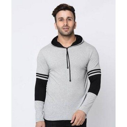 Men Self Pattern Cotton Hooded T-Shirt 02