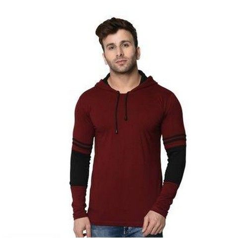 Men Self Pattern Cotton Hooded T-Shirt 05