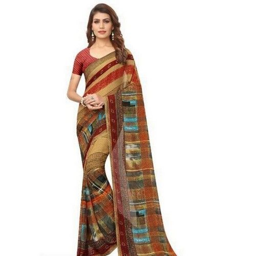 Georgette Printed Daily wear Sarees with Blouse piece 1