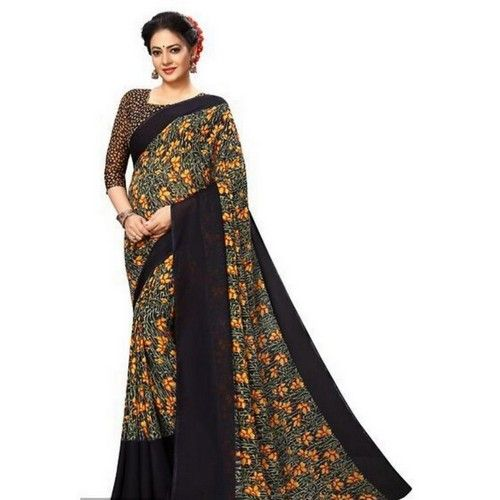 Georgette Printed Daily wear Sarees with Blouse piece 2
