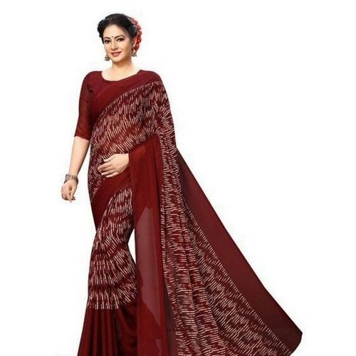 Georgette Printed Daily wear Sarees with Blouse piece 3