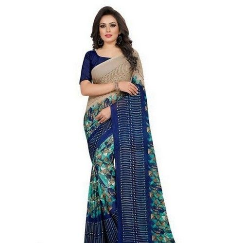 Georgette Printed Daily wear Sarees with Blouse piece 4