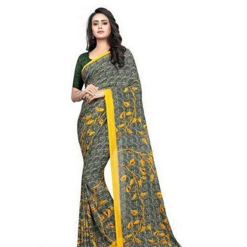 Georgette Printed Daily wear Sarees with Blouse piece 5