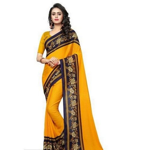 Georgette Printed Daily wear Sarees with Blouse piece 6