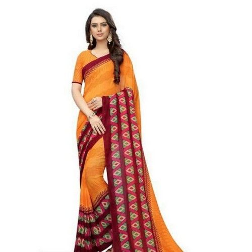 Georgette Printed Daily wear Sarees with Blouse piece 7