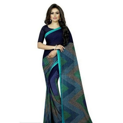 Georgette Printed Daily wear Sarees with Blouse piece 8