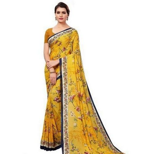 Georgette Printed Daily wear Sarees with Blouse piece 9