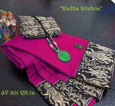 Chanderi Cotton Saree With Banglori Silk Blouse