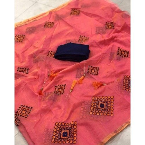Multicoloured Chanderi Cotton Saree with Blouse piece 02
